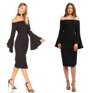 Solange Dress Off Shoulder Fluted Sleeves Black